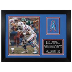 "Earl Campbell Signed Houston Oilers 14x18.5 Custom Framed Photo Display Inscribed ""HOF 91"" (JSA COA)"