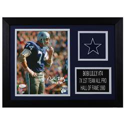 "Bob Lilly Signed Dallas Cowboys 14x18.5 Custom Framed Photo Display Inscribed ""HOF 80"" (JSA COA)"