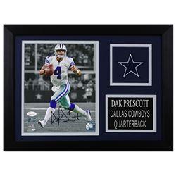Dak Prescott Signed Dallas Cowboys 14x18.5 Custom Framed Photo Display (JSA COA  Prescott Hologram)