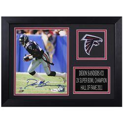 Deion Sanders Signed Atlanta Falcons 14x18.5 Custom Framed Photo Display (JSA COA)