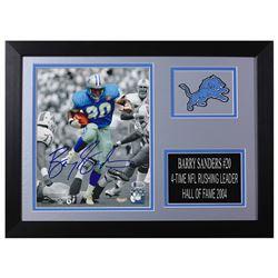 Barry Sanders Signed Detroit Lions 14x18.5 Custom Framed Photo Display (Beckett COA  Schwartz Hologr