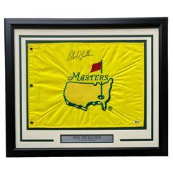 Phil Mickelson Signed Masters 20x24 Custom Framed Golf Pin Flag (Beckett COA)