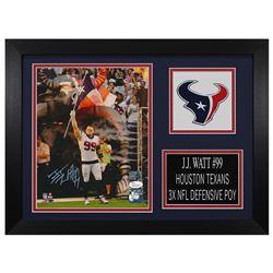 J. J. Watt Signed Houston Texans 14x18.5 Custom Framed Photo Display (JSA COA  Watt Hologram)