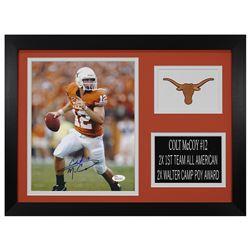 Colt McCoy Signed Texas Longhorns 14x18.5 Custom Framed Photo Display (JSA COA)