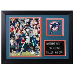 Dan Marino Signed Miami Dolphins 14x18.5 Custom Framed Photo Display (JSA COA)