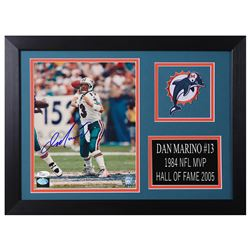 Dan Marino Signed Miami Dolphins 14x18.5 Custom Framed Photo Display (JSA COA  Marino Hologram)