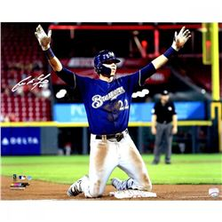 """Christian Yelich Signed Milwaukee Brewers """"Hit For Cycle 8/29/18"""" 16x20 Photo (Steiner Hologram)"""