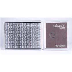Lot of (100) 1 Gram Silver Valcambi Mint Bullion Bars (Uncut) Sealed in Assayer