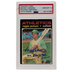 "Reggie Jackson Signed 1971 Topps #20 Inscribed ""14x All Star"" (PSA Encapsulated)"