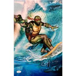 "Greg Horn Signed ""Teenage Mutant Ninja Turtles - Surfs Up"" 11x17 Lithograph (JSA COA)"