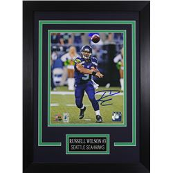 Russell Wilson Signed Seattle Seahawks 14x18.5 Custom Framed Photo (Wilson COA)