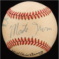 Hall Of Famers OAL Baseball Signed by (5) With Charles Gehringer, Rick Ferrell, Monte Irvin, Bill Te