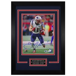 Julian Edelman Signed New England Patriots 14x18.5 Custom Framed Photo (Beckett COA)