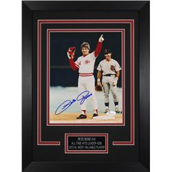 Pete Rose Signed Cincinnati Reds 14x18.5 Custom Framed Photo (JSA COA)