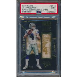 2016 Panini Black Gold Golden Arms #18 Dak Prescott (PSA 9)