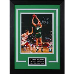 Larry Bird Signed Boston Celtics 14x18.5 Custom Framed Photo (Beckett COA)