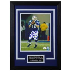 Peyton Manning Signed Indianapolis Colts 14x18.5 Custom Framed Photo (JSA COA)