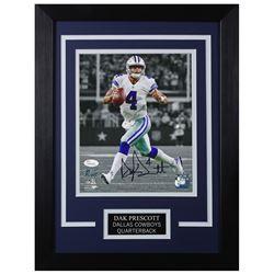 Dak Prescott Signed Dallas Cowboys 14x18.5 Custom Framed Photo (JSA COA)