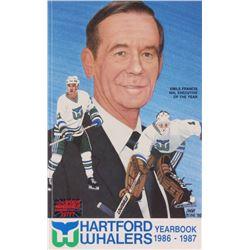 1986-1987 Hartford Whalers Yearbook Signed (24) with Gordie Howe, Jack Evans, Mike Millar, Stu Gavin