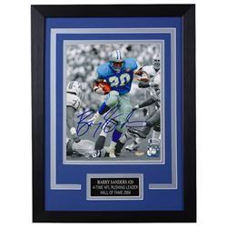 Barry Sanders Signed Detroit Lions 14x18.5 Custom Framed Photo (Beckett COA)