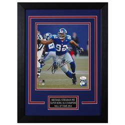 Michael Strahan Signed New York Giants 14x18.5 Custom Framed Photo (JSA COA)