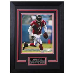 Michael Vick Signed Atlanta Falcons 14x18.5 Custom Framed Photo (JSA COA)