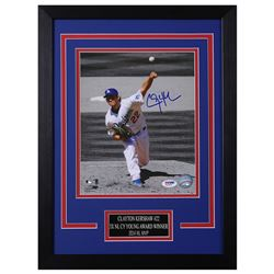 Clayton Kershaw Signed Los Angeles Dodgers 14x18.5 Custom Framed Photo (PSA COA)