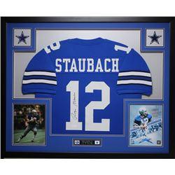 Roger Staubach Signed 35x43 Custom Framed Jersey (JSA COA)