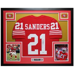 Deion Sanders Signed 35x43 Custom Framed Jersey (Beckett COA)