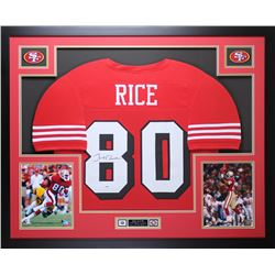 """Jerry Rice Signed 35"""" x 43"""" Custom Framed Jersey (PSA COA)"""