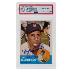 "Carl Yastrzemski Signed 1963 Topps #115 Inscribed ""HOF 89"" (PSA Encapsulated)"