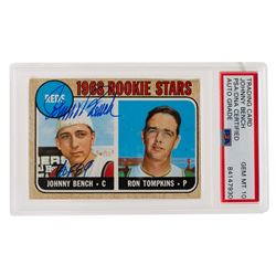 """Johnny Bench Signed 1968 Topps #247 Rookie Stars Johnny Bench RC / Ron Tompkins Inscribed """"HOF 89"""" ("""