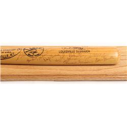 1976 New York Yankees Louisville Slugger Cut Baseball Bat on Mount Display Signed by (28) with Thurm