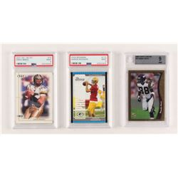 Lot of (3) Graded Football Cards with 1998 Topps Chrome #35 Randy Moss (BGS 9), 2005 Bowman #112 Aar