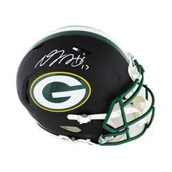 Davante Adams Signed Green Bay Packers Full-Size Authentic Matte Black On-Field Speed Helmet (Radtke