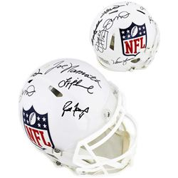 Quarterback Greats NFL Logo Full-Size Authentic On-Field Speed Helmet Signed by (8) with Brett Favre