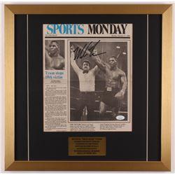 Mike Tyson Signed 19.5x19.5 Custom Framed Vintage Newspaper Display (JSA COA)