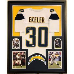 Austin Ekeler Signed 34x42 Custom Framed Jersey (Beckett COA)