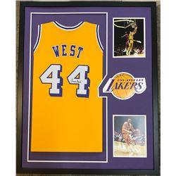 Jerry West Signed 34x42 Custom Framed Jersey (JSA COA)