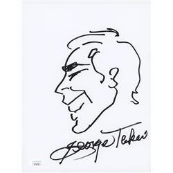 George Takei Signed 8.5x11 Hand-Drawn Sketch (JSA COA)