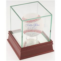 Pete Rose Signed OML Baseball with (5) Career Stat Inscriptions with Display Case (JSA COA)