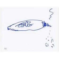 Tommy Chong Signed 8.5x11 Hand-Drawn Sketch (JSA COA)