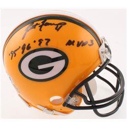 """Brett Favre Signed Green Bay Packers Mini Helmet Inscribed """"'95, '96, '97 MVP 3"""" (Radtke COA)"""
