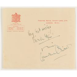 "Laurence Olivier  Vivien Leigh Signed Envelope Inscribed ""Mine""  ""Very Best Wishes"" (JSA LOA)"