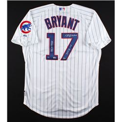 """Kris Bryant Signed Cubs Majestic Authentic Jersey Inscribed """"2016 WS Champs, """"2016 NL MVP""""  """"Fly The"""