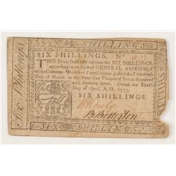 1777 Six Shillings Pennsylvania Colonial Currency Note