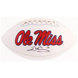 Evan Engram Signed Ole Miss Rebels Logo Football (JSA COA)