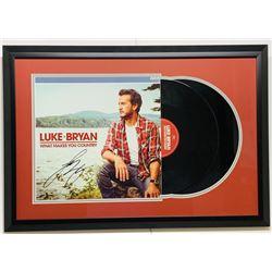 """Luke Bryan Signed """"What Makes You Country"""" 18x26 Custom Framed Vinyl Record Album (JSA COA)"""