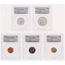 1955 US Mint PCGS Graded Proof Set with 1¢ One Cent (PCGS PR66RD), 5¢ Five Cent (PCGS PR67), 10¢