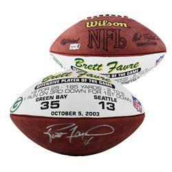 "Brett Favre Signed Green Bay Packers ""Offensive Player of the Game"" Logo Football (Radtke COA)"